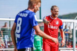 Nico Herzig vom TSV Steinbach Haiger im Hinspiel gegen den SV Waldhof Mannheim