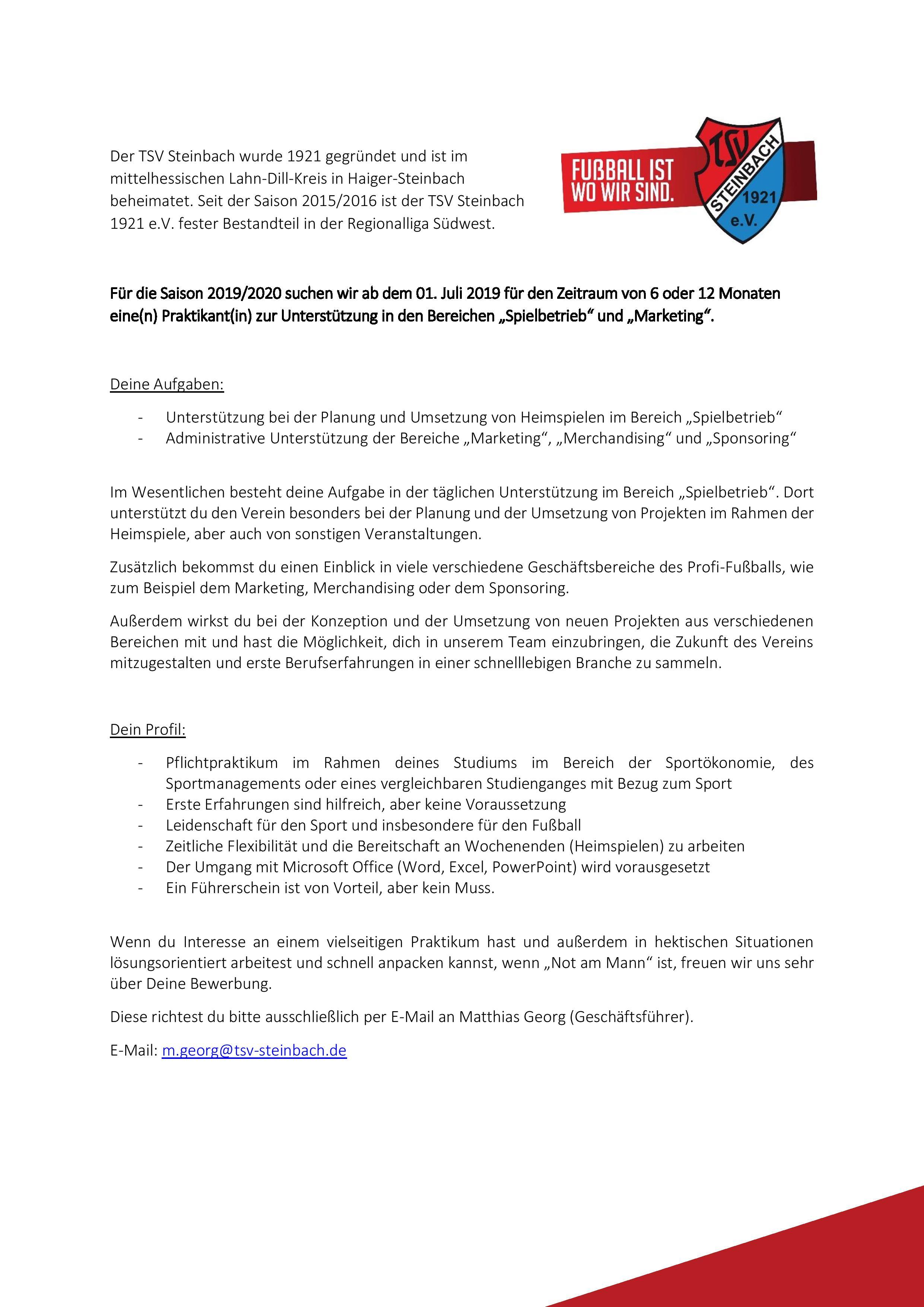 Stellenanzeige Praktikum TSV Steinbach Haiger