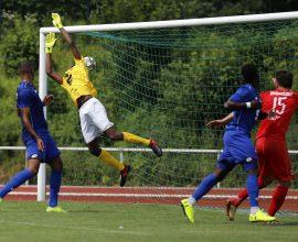 David Al-Azzawe vom TSV Steinbach Haiger trifft gegen den Bonner SC